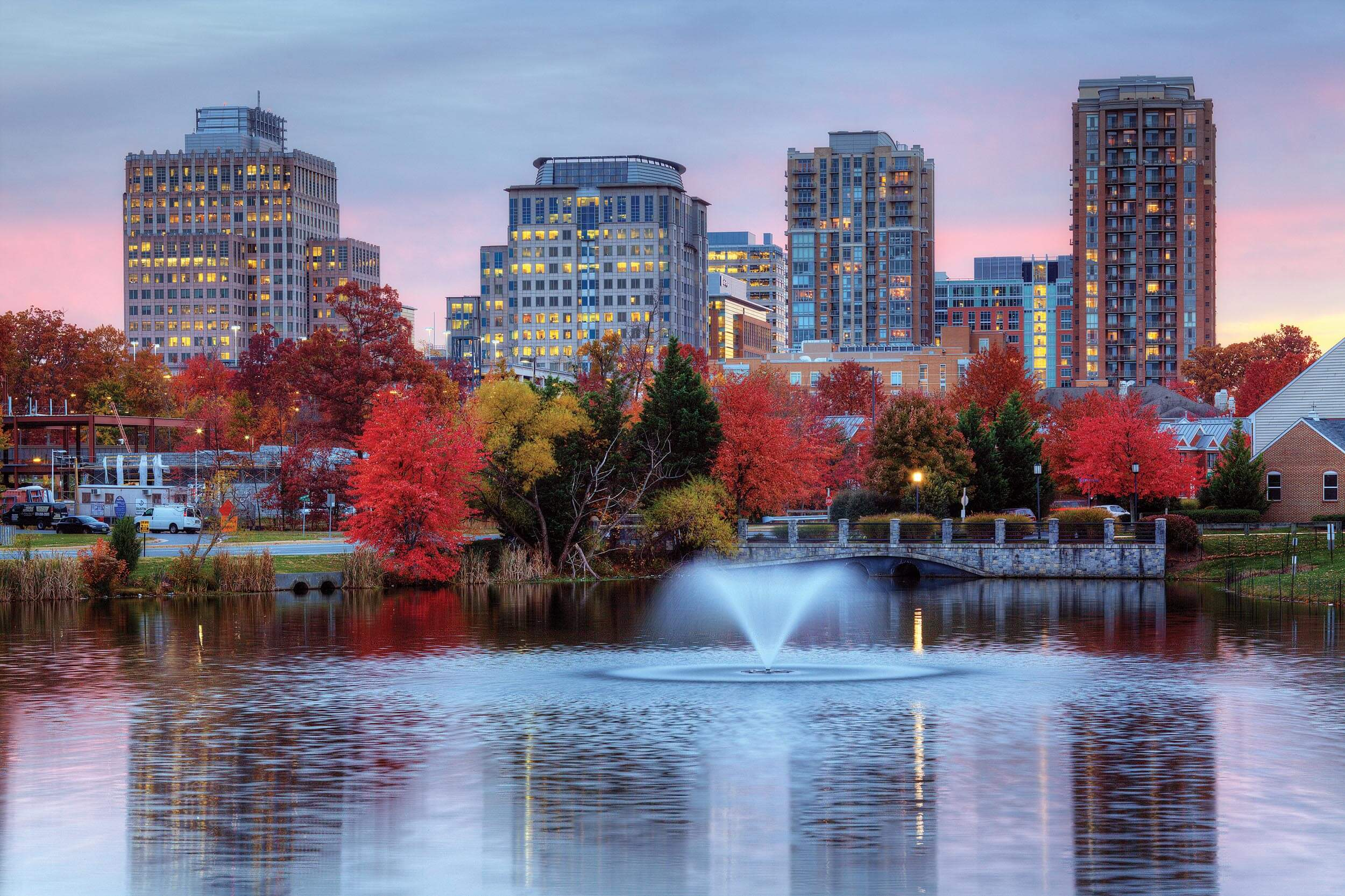 A view of Reston town center across a lake in Northern Virginia. Photo by Greg Hess.