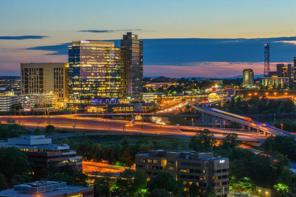 Fairfax, Virginia skyline illuminated at dusk