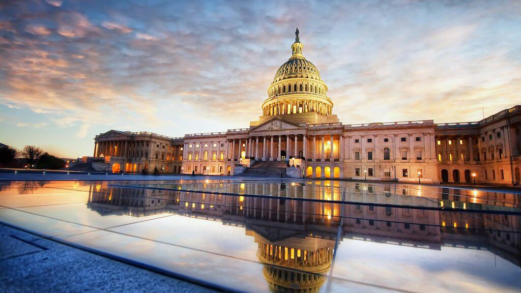US Capitol Building in Washington, D.C. illuminated at dusk