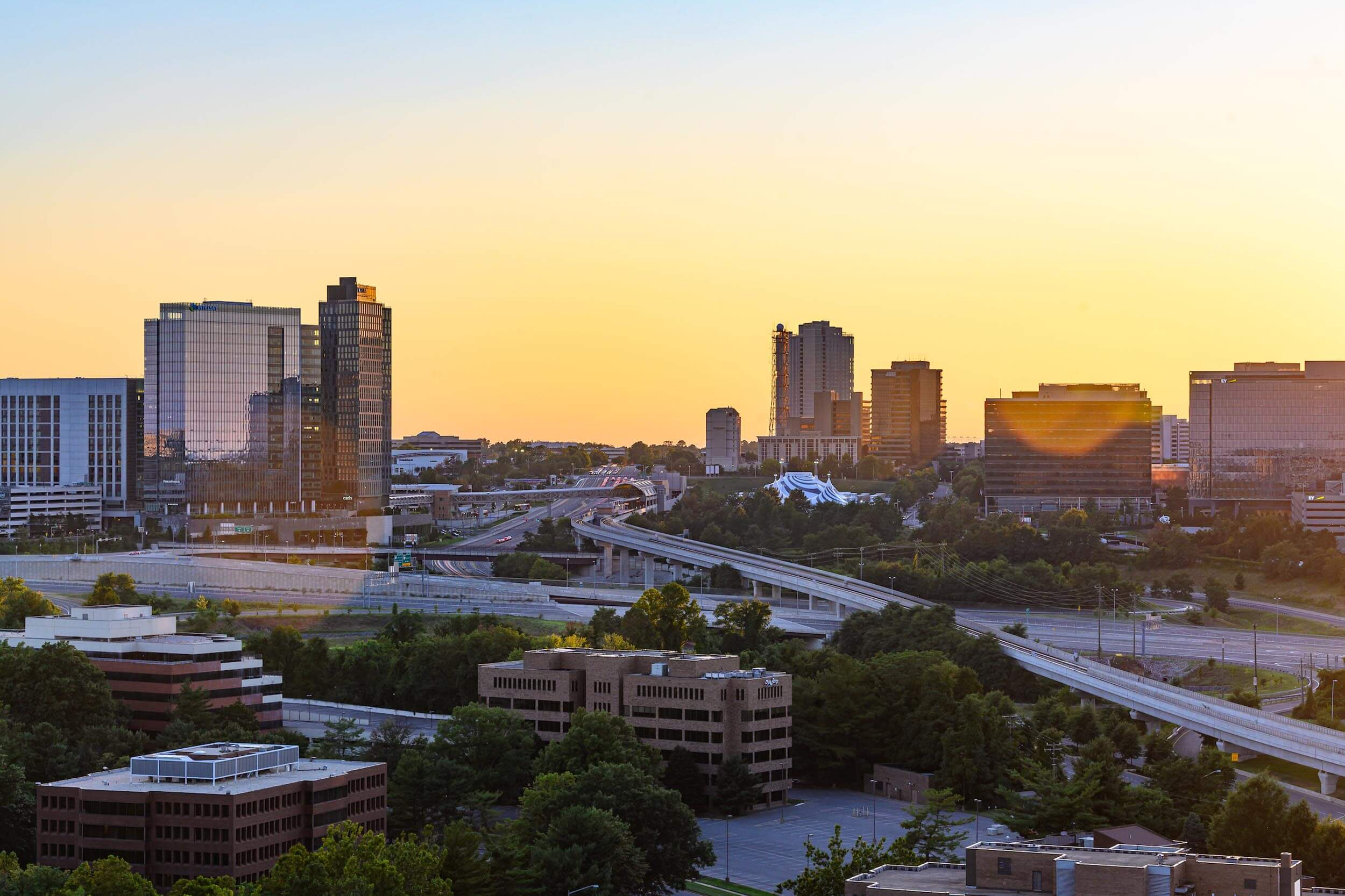 Fairfax region skyline during sunset