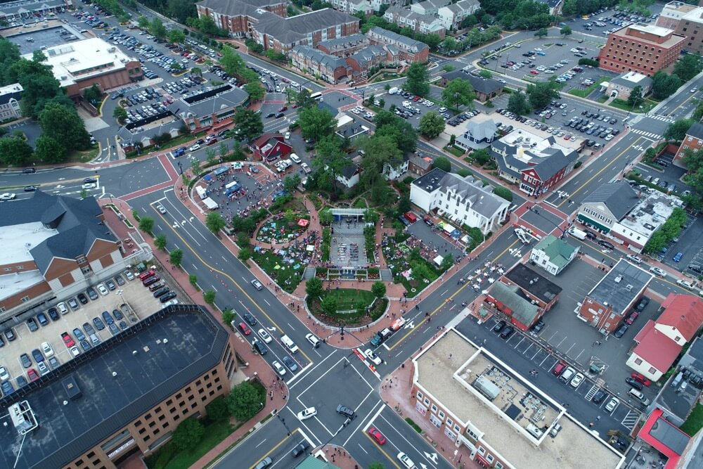 Aerial view of downtown Fairfax in Northern Virginia