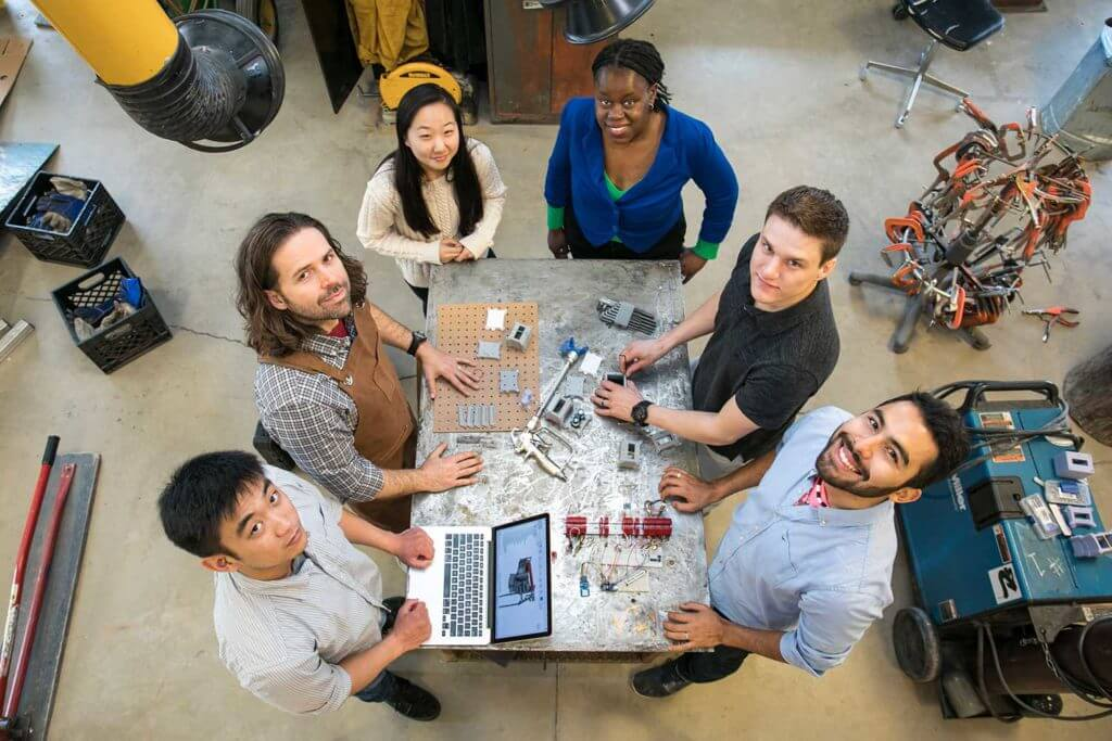 Students at George Mason University work on a collaborative project.
